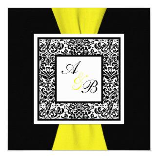 """, Blanco, amarillo CINTA IMPRESA damasco negro Invitación 5.25"""" X 5.25"""""""