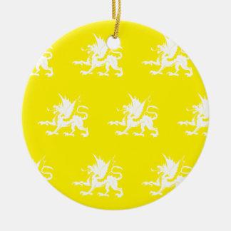 Blanco amarillo de los dragones adornos