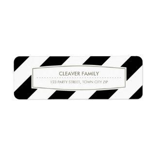 Blanco amplio del negro del modelo de la raya del  etiqueta de remite