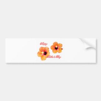 Blanco anaranjado BG de madre del hibisco feliz de Etiqueta De Parachoque