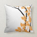 Blanco anaranjado de la mandarina de las flores de cojín decorativo