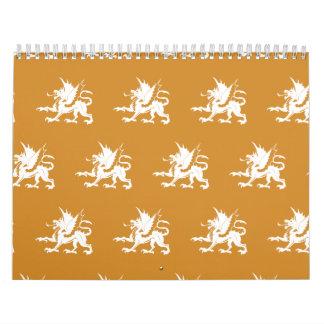 Blanco anaranjado de los dragones calendario