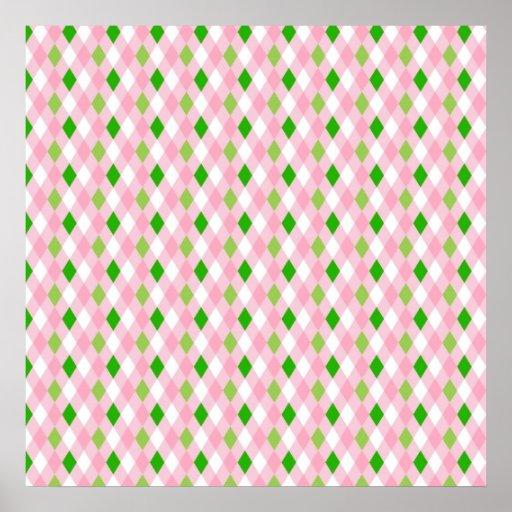 Blanco Argyle de la verde lima del rosa de la dive Impresiones