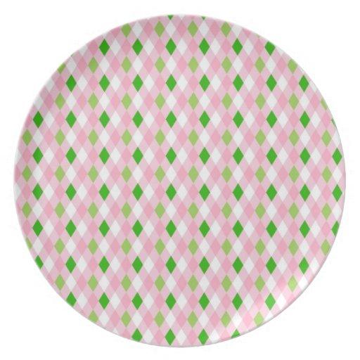 Blanco Argyle de la verde lima del rosa de la dive Plato De Comida