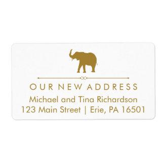 Blanco atractivo de la nueva dirección y elefante etiquetas de envío