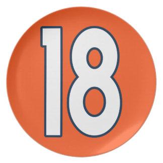 Blanco azul anaranjado del número 18 platos para fiestas