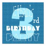 Blanco azul año 003 del cumpleaños tres del niño comunicados personales