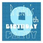 Blanco azul año 009 del cumpleaños nueve del niño invitación personalizada