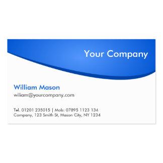 Blanco azul curvado, tarjeta de visita profesional