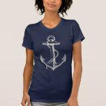 Blanco azul de la camiseta gráfica náutica de la c