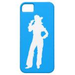 blanco/azul de la silueta de la vaquera de la casa iPhone 5 Case-Mate cárcasas