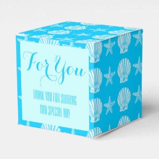 Blanco azul de las estrellas de mar de la playa de caja para regalos