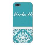 Blanco azul del damasco elegante del estampado de  iPhone 5 protector