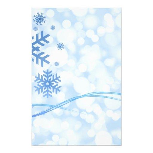 """Blanco azul del diseño del copo de nieve del navid folleto 5.5"""" x 8.5"""""""