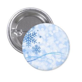 Blanco azul del diseño del copo de nieve del navid pin redondo de 1 pulgada