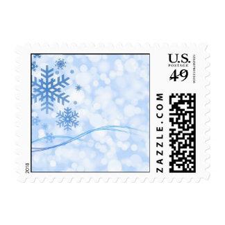 Blanco azul del diseño del copo de nieve del timbres postales