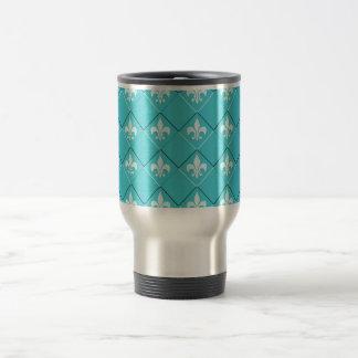 blanco azul del modelo fresco de la flor de lis taza