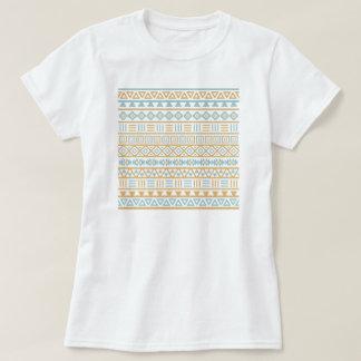 Blanco azul del oro del modelo azteca de la playeras