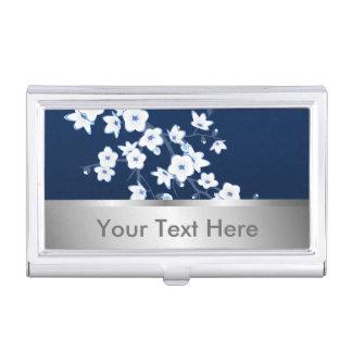 Blanco azul marino de las flores de cerezo cajas de tarjetas de negocios