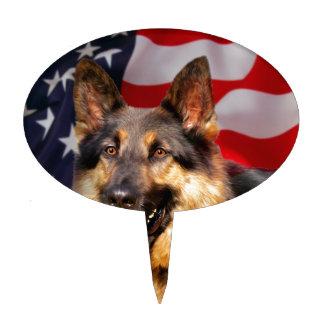 Blanco azul rojo del patriota del perro de pastor figuras de tarta