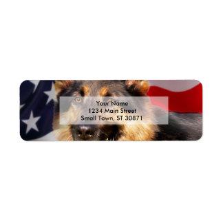 Blanco azul rojo del patriota del perro de pastor etiqueta de remitente