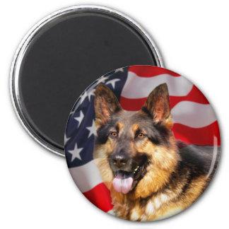 Blanco azul rojo del patriota del perro de pastor imán redondo 5 cm