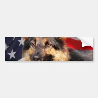 Blanco azul rojo del patriota del perro de pastor pegatina para auto