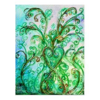 Blanco azul verde claro de los FLOURISHES CAPRICHO Postales