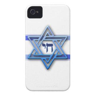 Blanco azul y la estrella de David - iPhone 4 - ca Case-Mate iPhone 4 Cárcasa