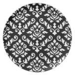 Blanco barroco del modelo del damasco en negro platos de comidas