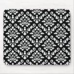 Blanco barroco del modelo del damasco en negro alfombrillas de ratones