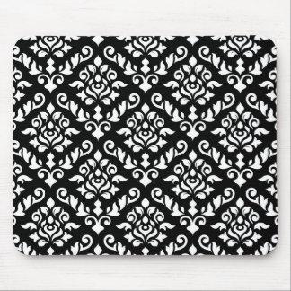 Blanco barroco del modelo del damasco en negro mouse pads