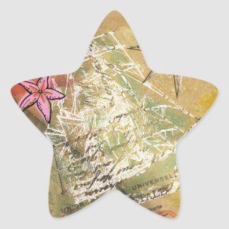 Blanco beige del rosa de la vela de la nave ideal pegatina en forma de estrella