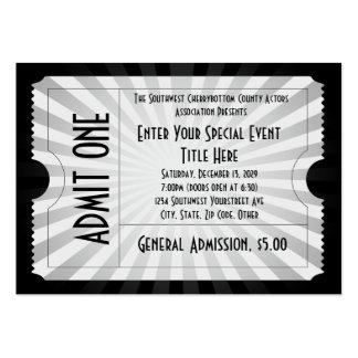 Blanco + Boleto negro del acontecimiento, tamaño Tarjetas De Visita