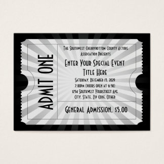 Blanco + Boleto negro del acontecimiento, tamaño Tarjetas De Visita Grandes