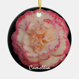 Blanco bonito con el ornamento rosado del navidad adorno navideño redondo de cerámica