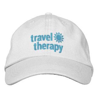 Blanco bordado terapia y azul del gorra del viaje gorras de béisbol bordadas