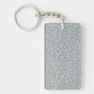 Blanco brillante de la plata de las chispas del fa llavero rectangular acrílico a doble cara