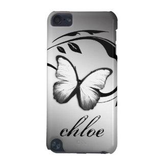 blanco brillante del negro de la mariposa del tact funda para iPod touch 5G