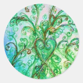 Blanco brillante del verde azul de los FLOURISHES Pegatina Redonda
