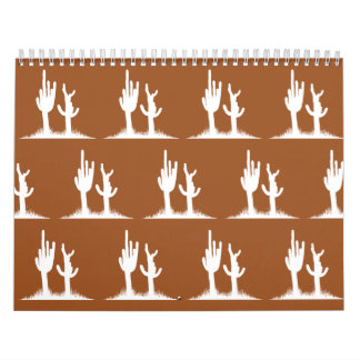 Blanco Brown del cactus Calendario