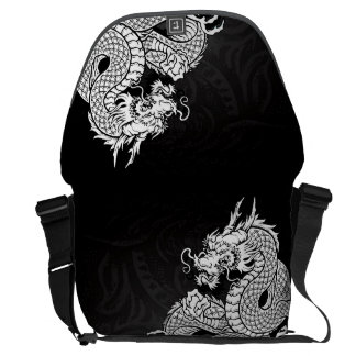 Blanco chino del dragón bolsa de mensajería