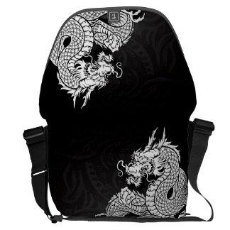 Blanco chino del dragón bolsas messenger