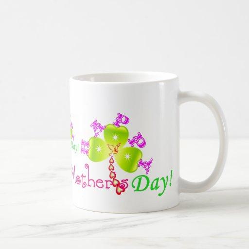 blanco clásico ♫☆♥Happy Mug1¦☆♥♪ del día de madre Taza Clásica