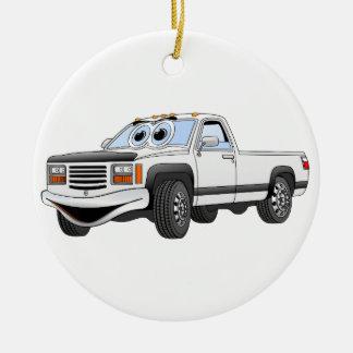 Blanco coja el dibujo animado del camión adorno navideño redondo de cerámica