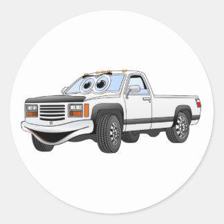 Blanco coja el dibujo animado del camión pegatinas redondas