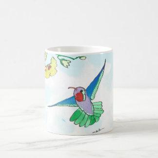 Blanco colorido del colibrí taza de la obra