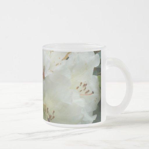 ~ blanco como la nieve Mug~ del rododendro Taza Cristal Mate