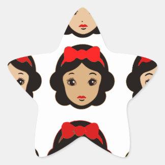 Blanco como la nieve y ocho copias pegatina en forma de estrella