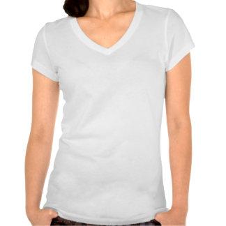 Blanco con cuello de pico de la camiseta del